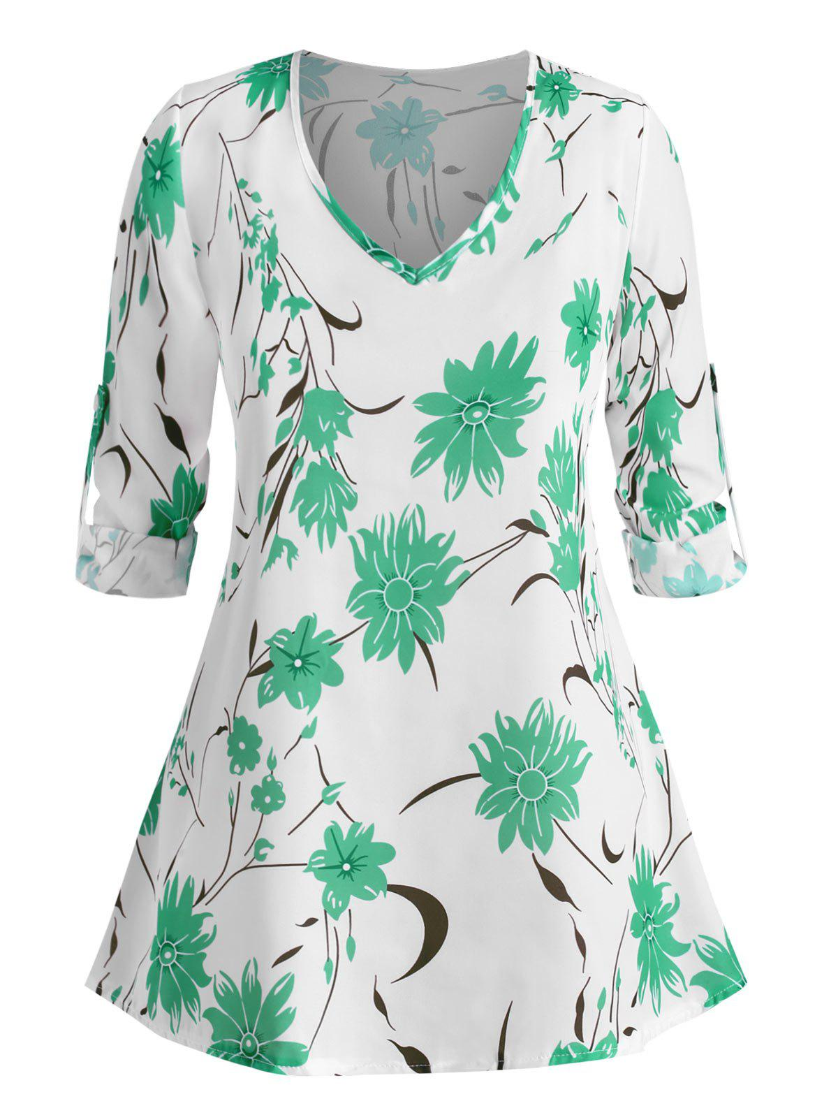 Cheap Plus Size Floral Print Roll Up Sleeve Blouse