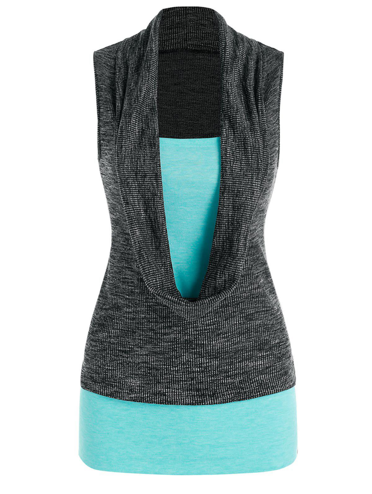 Online Cowl Front Heathered 2 in 1 Tank Top
