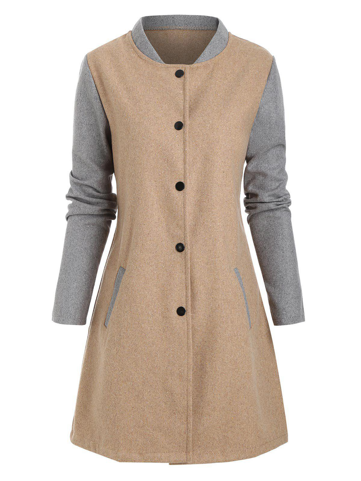 Chic Contrast Wool Blend Snap Button Coat