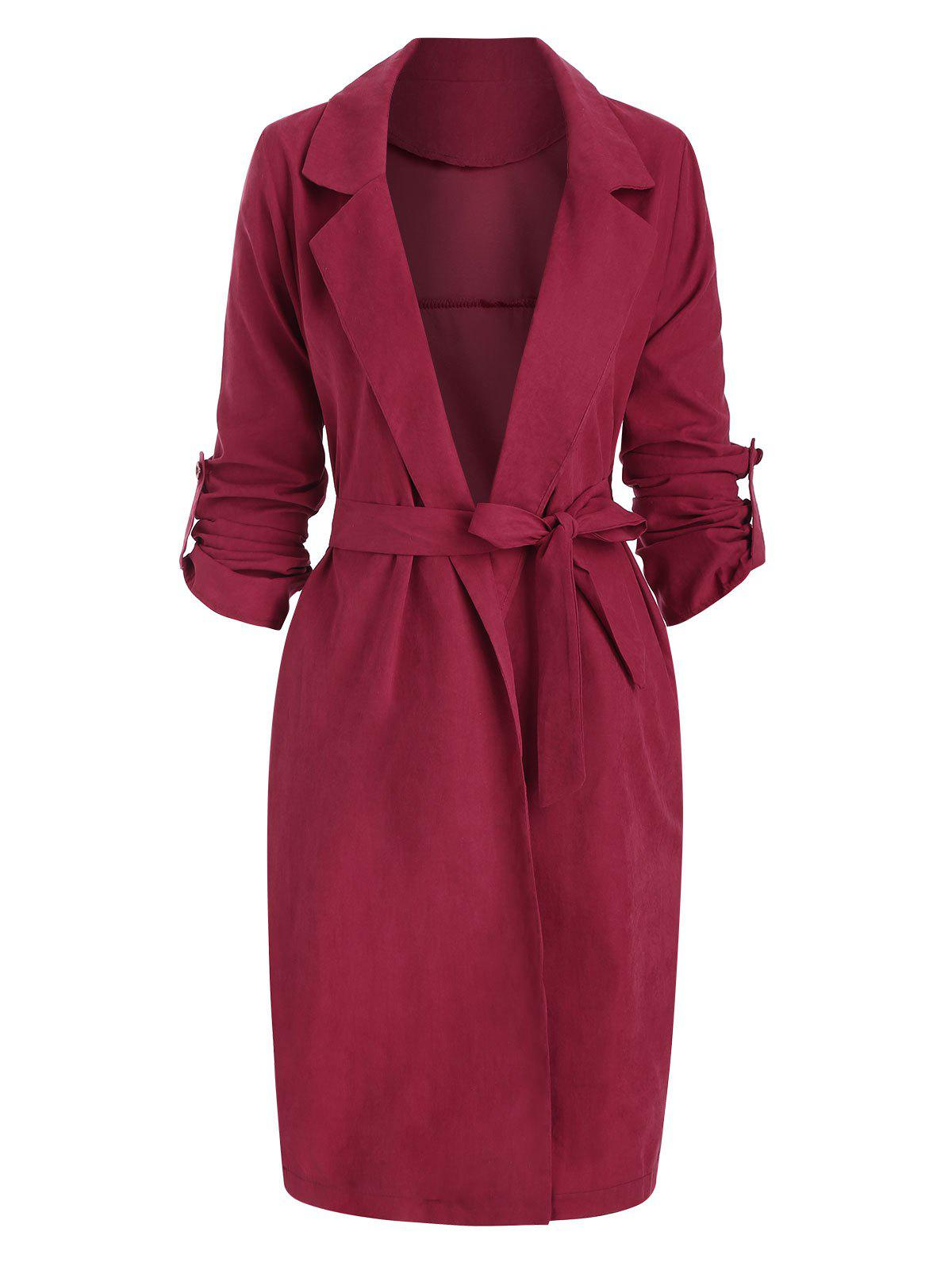 Cheap Side Slit Roll Sleeve Belted Trench Coat