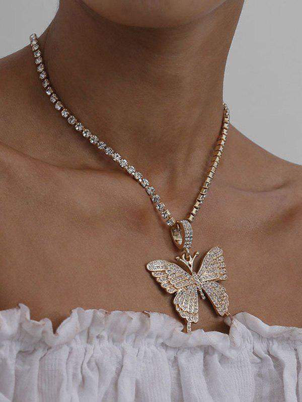 Outfit Big Butterfly Pattern Rhinestone Necklace
