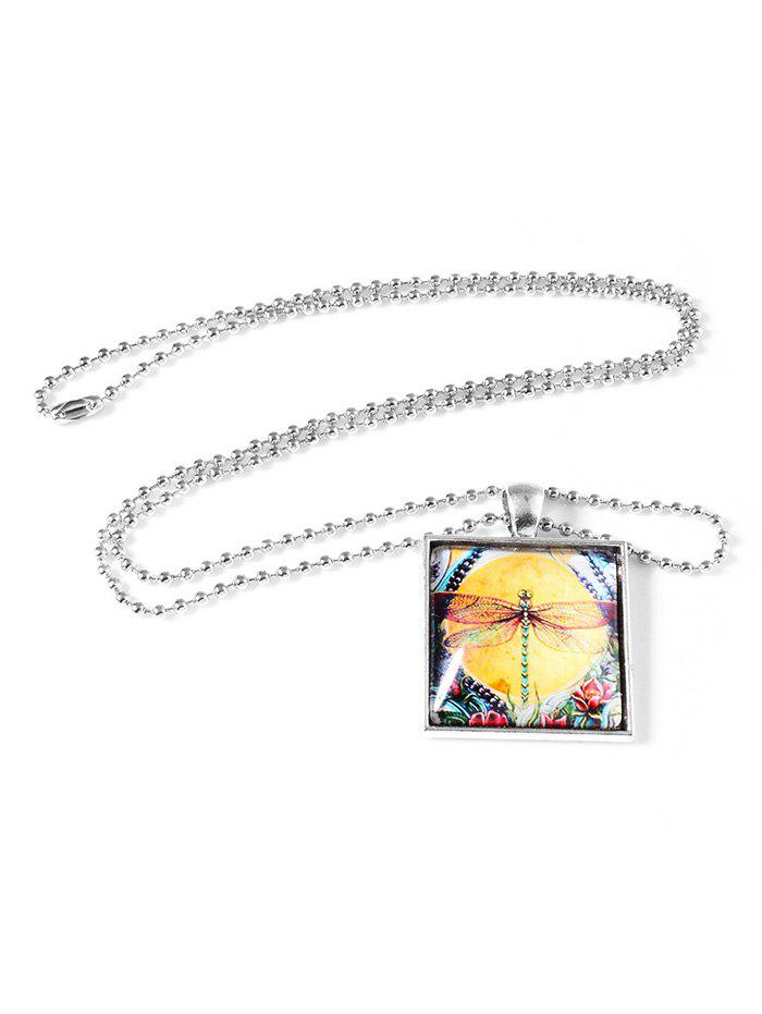 Trendy Retro Painting Dragonfly Square Pendant Necklace