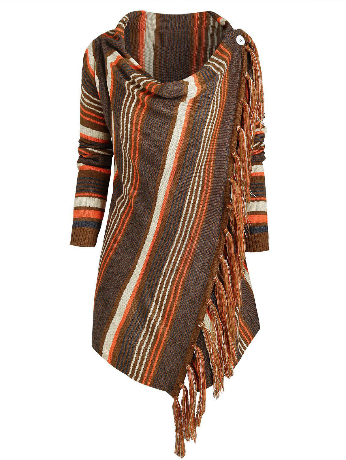 Shops Cowl Neck Striped Fringed Hem Convertible Sweater