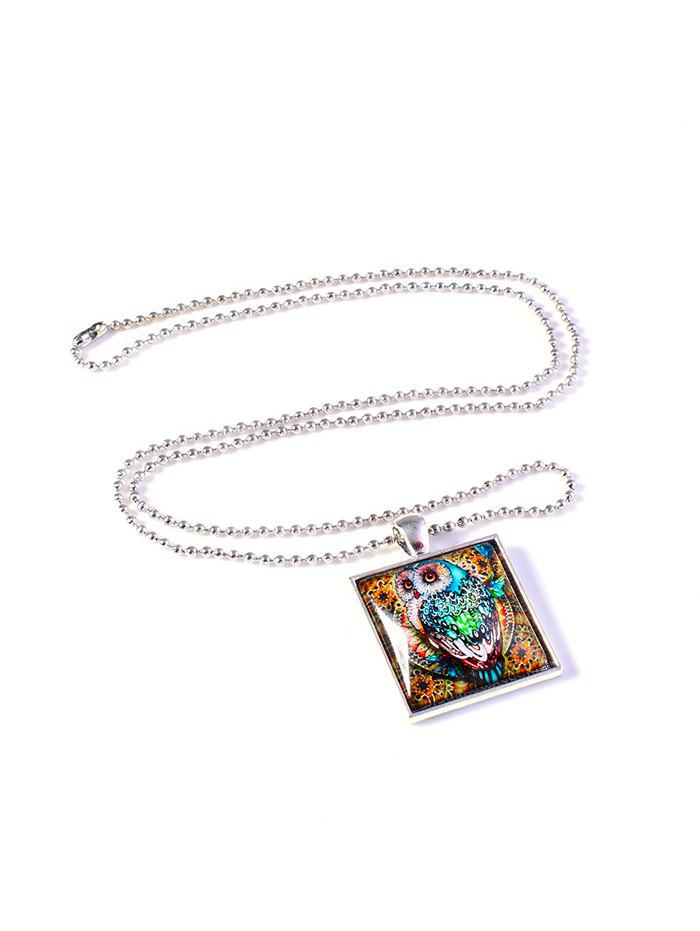 Hot Colored Painting Owl Geo Pendant Necklace