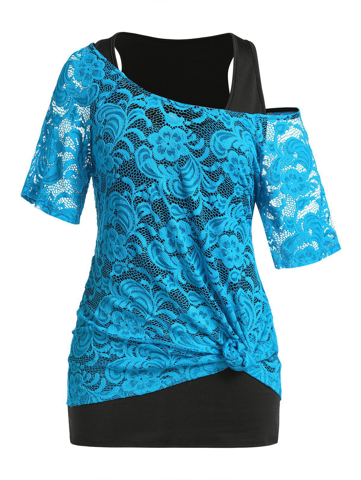 Trendy Plus Size Lace See Thru T-shirt and Tunic Tank Top Set