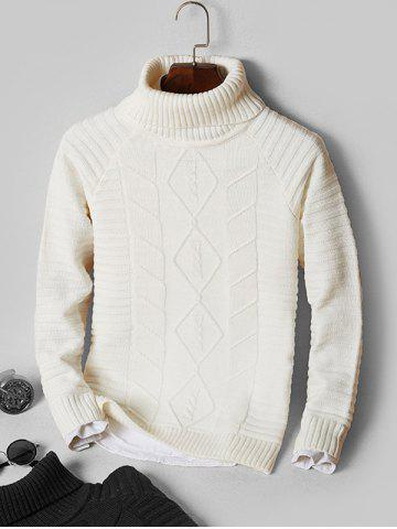 Solid Turtleneck Cable Knit Sweater - WHITE - M
