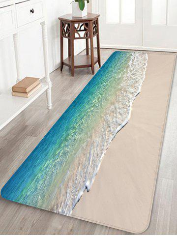 Beach Sea Print Fleece Floor Mat - TURQUOISE - W24 X L71 INCH