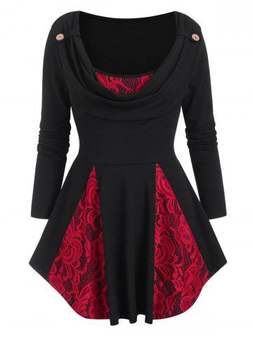 Cowl Neck Lace Panel Long Sleeve Top - BLACK - S