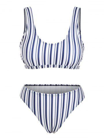 Striped Side Cutout Bikini Swimwear