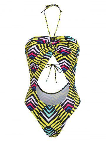 Halter Striped Cinched Cutout One-piece Swimsuit - YELLOW - XXL