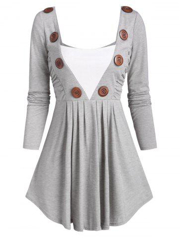Square Collar Buttoned Ruched Long Sleeve Top - LIGHT GRAY - XXL