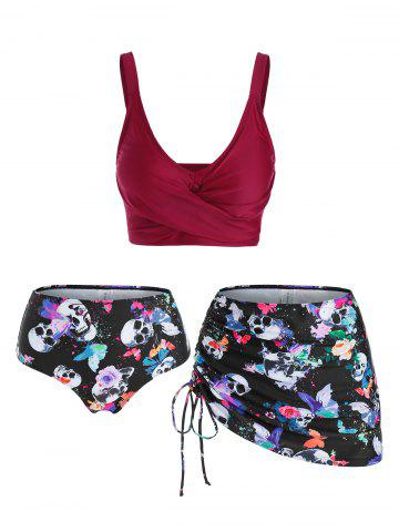 Skull Butterfly Flower Print Cinched Padded Three Piece Tankini Swimsuit - DEEP RED - M