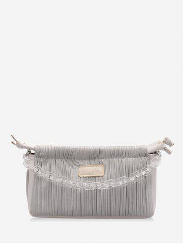 Chain Pleated Rectangle Shoulder Bag - GRAY GOOSE