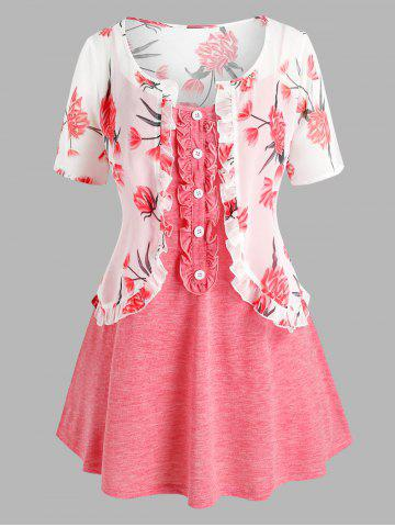 Plus Size Flower Chiffon Ruffle Top with Cami Top Set - LIGHT PINK - L