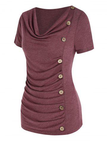Ruched Button Down Asymmetric T Shirt - DEEP RED - S