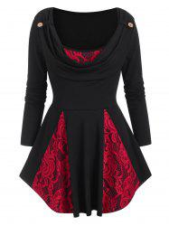 Cowl Neck Lace Panel Long Sleeve Top -
