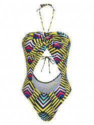 Halter Striped Cinched Cutout One-piece Swimsuit -