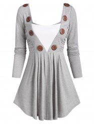 Square Collar Buttoned Ruched Long Sleeve Top -