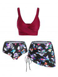 Skull Butterfly Flower Print Cinched Padded Three Piece Tankini Swimsuit -