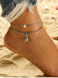 2Pcs Pineapple Star Beads Layered Chain Anklet Set -
