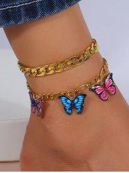 2Pcs Colored Butterfly Pendant Chain Anklets Set -
