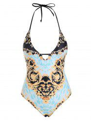 Baroque Print Lace-up One-piece Swimsuit -