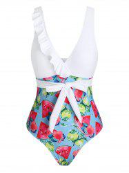 Floral Fruit Print Ruffle Waist Tie One-piece Swimsuit -