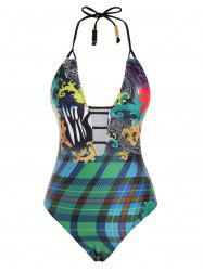 Halter Plaid Baroque Printed Metal Ladder Cutout One-piece Swimsuit -