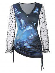 Side Cinched Ruched Butterfly Print Mesh Sleeves Top -