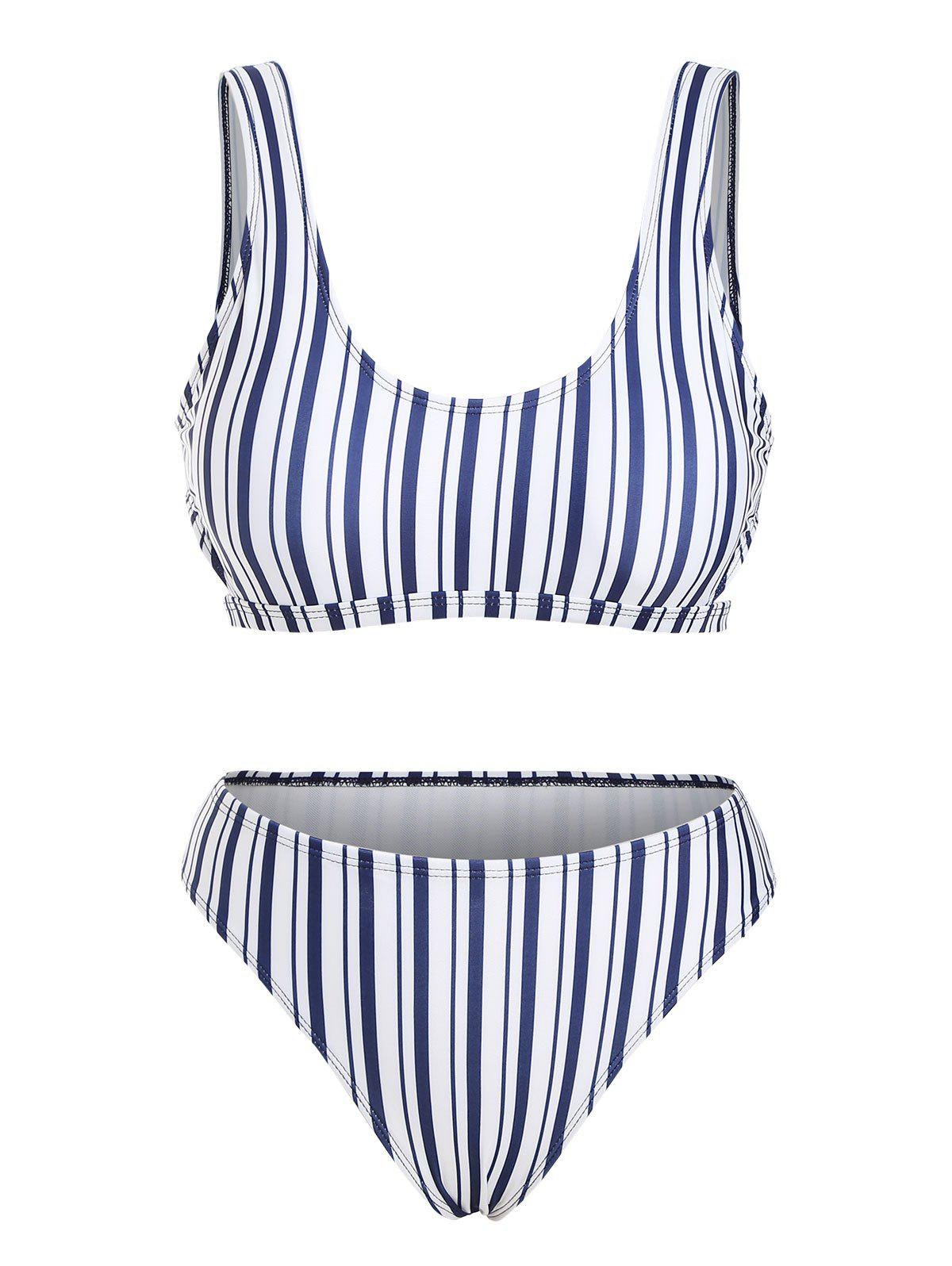 Online Striped Side Cutout Bikini Swimwear