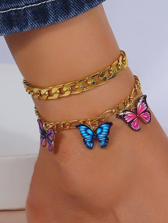 Discount 2Pcs Colored Butterfly Pendant Chain Anklets Set