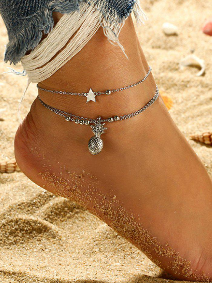 Outfit 2Pcs Pineapple Star Beads Layered Chain Anklet Set