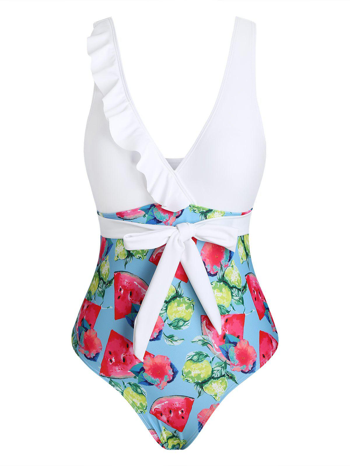 Cheap Floral Fruit Print Ruffle Waist Tie One-piece Swimsuit