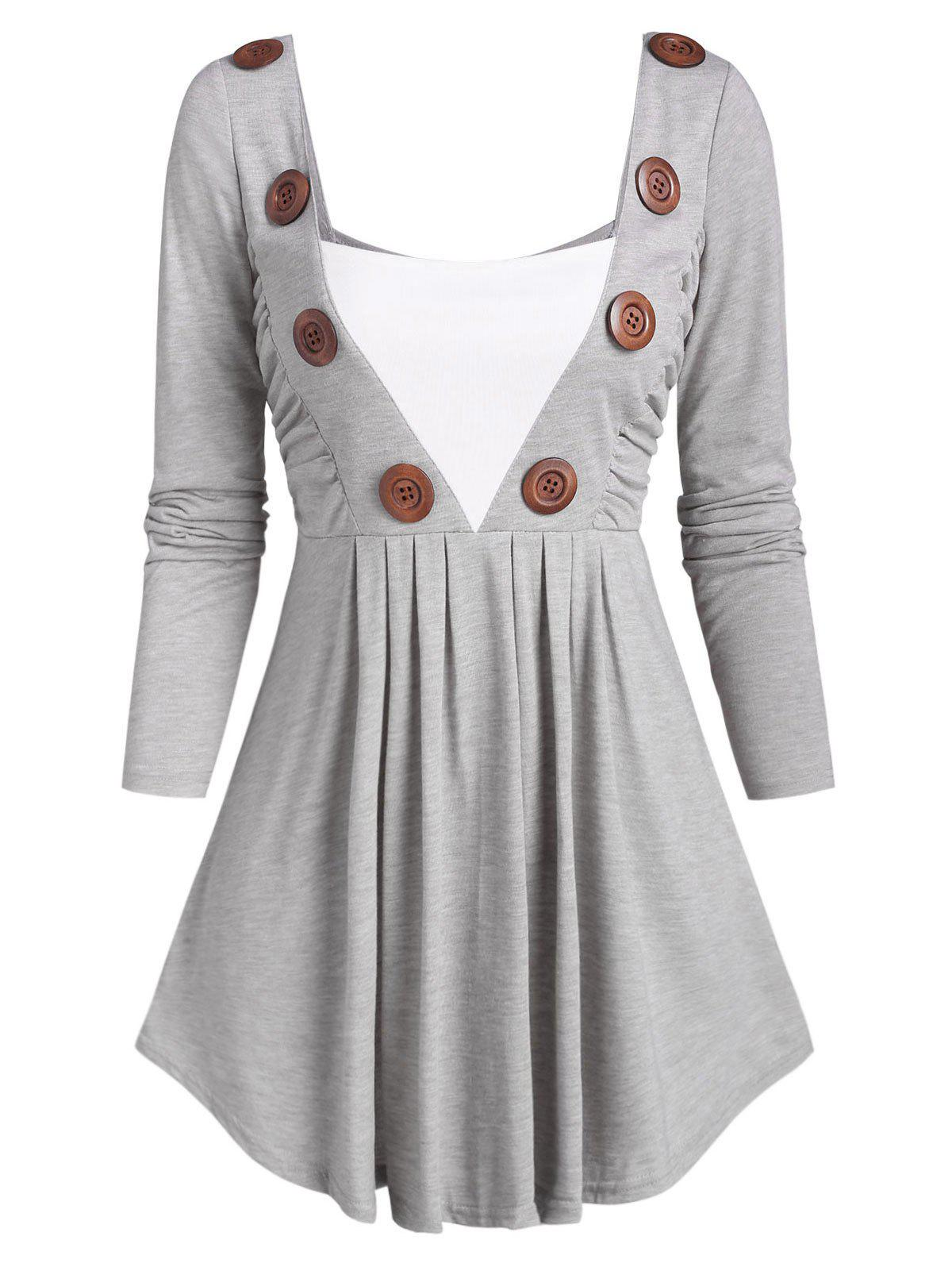 Affordable Square Collar Buttoned Ruched Long Sleeve Top