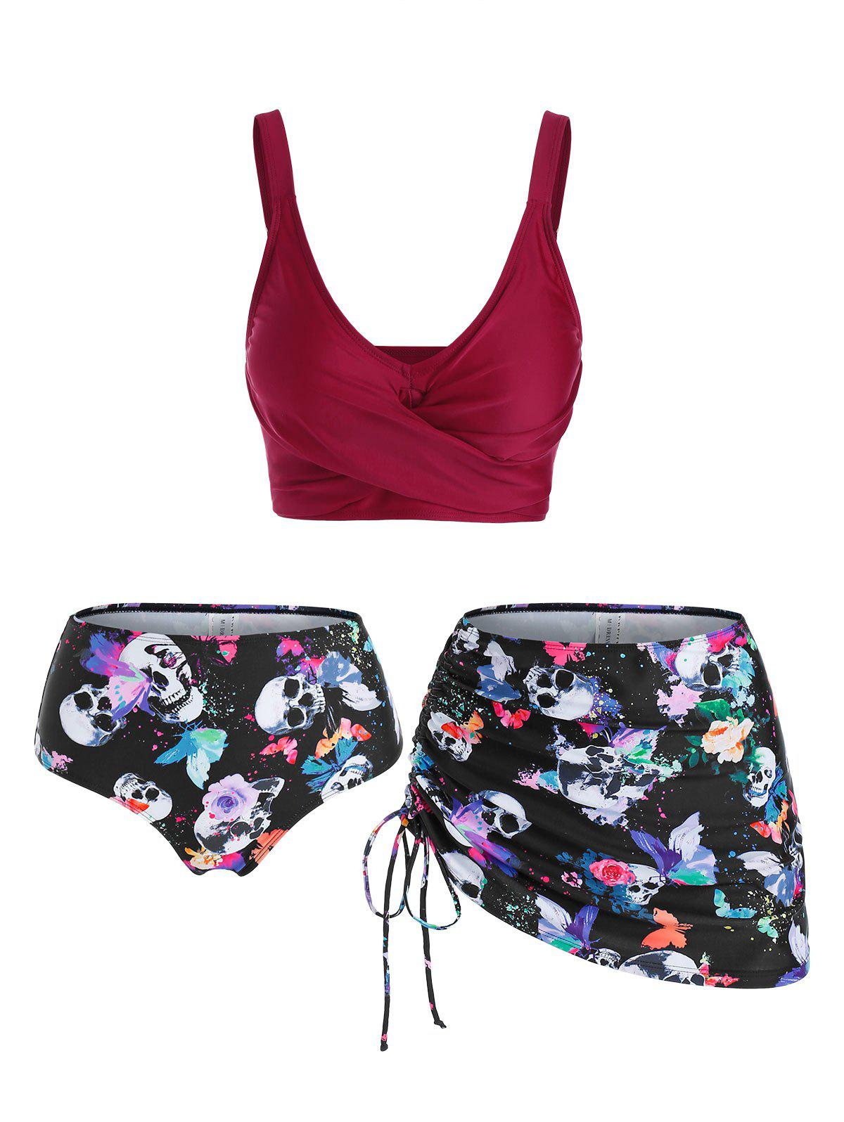 Hot Skull Butterfly Flower Print Cinched Padded Three Piece Tankini Swimsuit