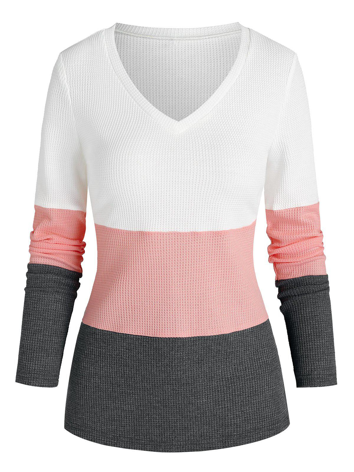 Online Contrast V Neck Knit Sweater