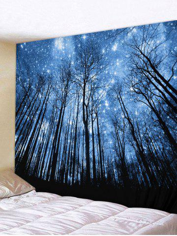 Forest Starry Sky Print Wall Tapestry - DEEP BLUE - W59 X L51 INCH