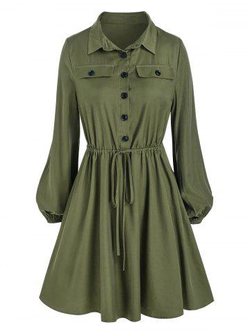 Mini-Robe à Demi-Bouton à Cordon - DEEP GREEN - 3XL
