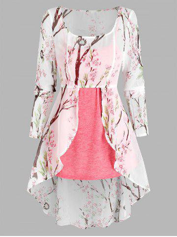Floral Print Lace-up High Low Chiffon Blouse and Heathered Tank Top
