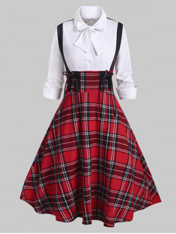 Lace Plaid Up Half Button Bowknot Vestido - RED - XXL