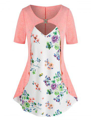 Plus Size Flower Print Cutout D Rings 2 in 1 T Shirt - LIGHT ORANGE - 3X