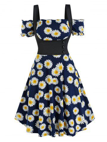 Off The Shoulder Daisy Print Dress and Top Twinset - DEEP BLUE - L