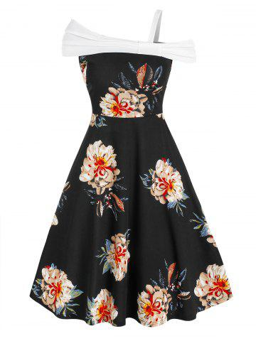 Skew Neck Floral Print Knee Length Dress