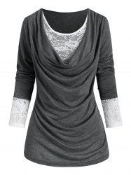 Plus Size Cowl Front Lace Panel T Shirt -