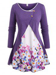 Buttoned Overlap Front Floral Plus Size Top -