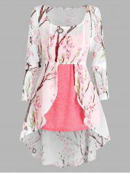 Floral Print Lace-up High Low Chiffon Blouse and Heathered Tank Top -