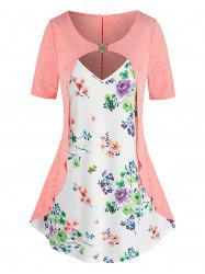 Plus Size Flower Print Cutout D Rings 2 in 1 T Shirt -