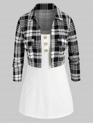Plus Size Plaid Open Front Top and Camisole Twinset -