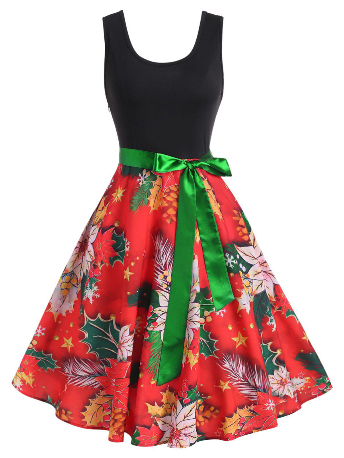 Outfits Christmas Floral Print Vintage Dress