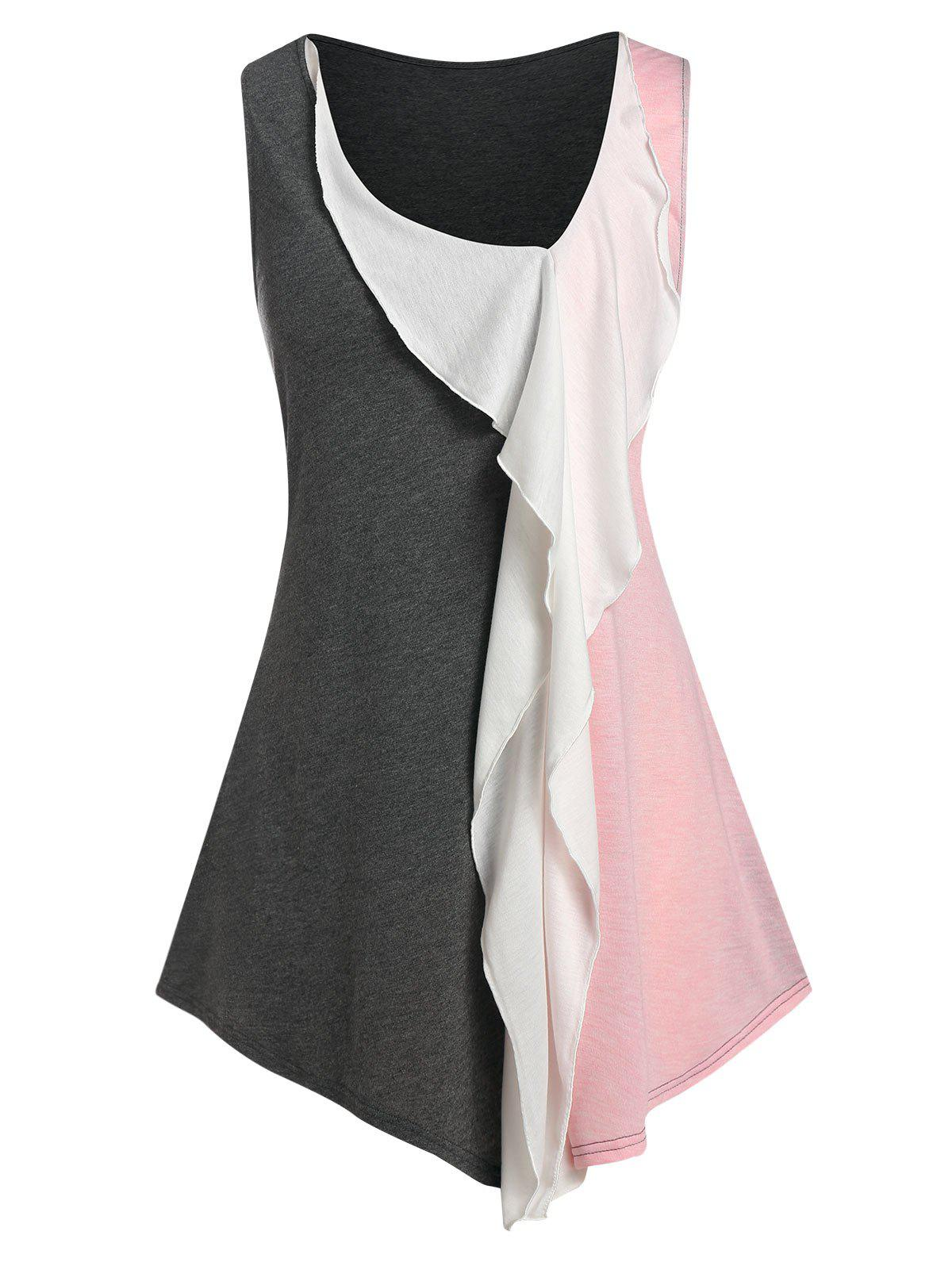 Affordable Plus Size Colorblock Ruffle Front Long Tank Top